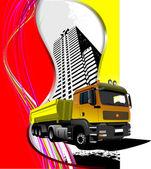 Grunge cidade abstrata de fundo com imagem do caminhão. vector ilustr — Foto Stock