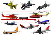 Gran juego de aviones. ilustración vectorial — Foto de Stock