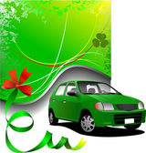 Green background and green car sedan on the road. Vector illustr — Stock Photo