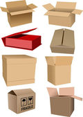 Big Set of carton packaging boxes isolated over a white backgrou — Stock Photo