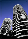 Black and white building silhouette on sky background. Vector il — Stock Photo