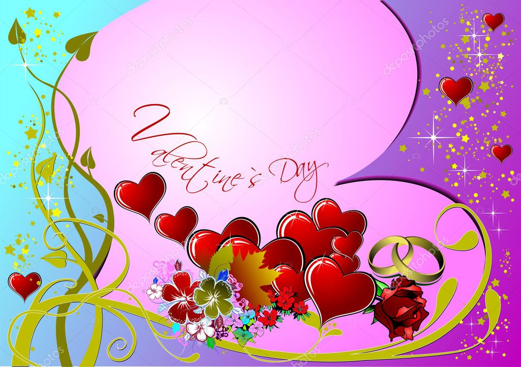 Valentine`s day. 14 February. Wedding  Greeting Card. Invitation card. Vector illustration.  — Stock Photo #5864240