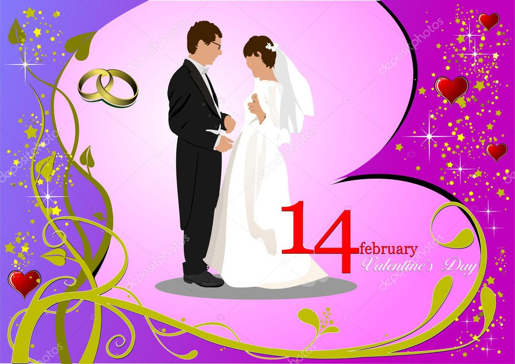 Valentine`s Day  Greeting Card with bride and groom images. Vector illustration. Invitation card — Stock Photo #5864440