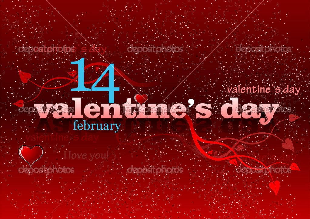 Valentine`s Day red background. 14 February. vector illustration  Stock Photo #5864488
