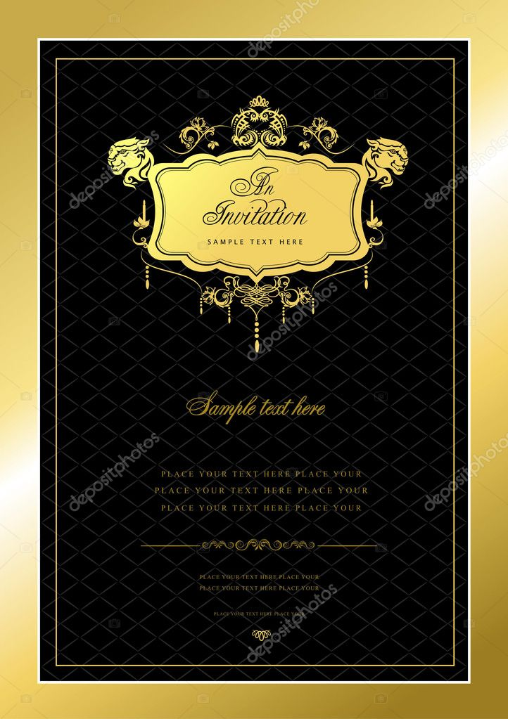 Invitation gold card. Wedding or Valentine`s Day. Vector illustrationv — Stock Photo #5864525
