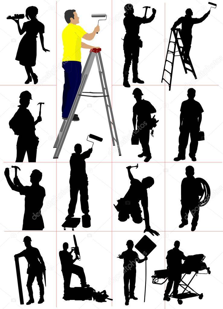 工人剪影.男人和女人.矢量插画