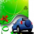 Green background and blue car sedan. Vector illustration — Imagens vectoriais em stock