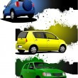 Three grunge banners with car images. Vector illustration — Stock Vector