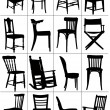 Big set of home chair silhouettes. Vector illustration — Stock Vector