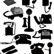 Big set of old phones silhouette. Vector illustration - Stock Vector