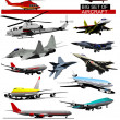 Big set of aircraft. Vector illustration - Stock Vector