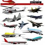 Big set of aircraft. Vector illustration — Stock Vector