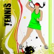 Tennis player poster. Colored Vector illustration for designers - Stock Vector