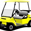 Electrical golf car on isolated white background. Vector illustr - Stok Vektör