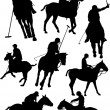 ストックベクタ: Black and white polo players vector silhouette