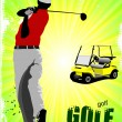 Royalty-Free Stock Vector Image: Colored poster of Golfers hitting ball with iron club and electr