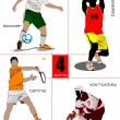 Four kinds of sport games. Football, Ice hockey, tennis, soccer, — Stockvector