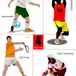 Four kinds of sport games. Football, Ice hockey, tennis, soccer, — Stock vektor