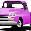 Old pink pickup with badges removed. Vector illustration — Stock Vector