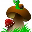 Funny green snail and two mushrooms on green grass. Vector illus — Stock Vector