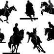 Horse riders silhouettes. Vector illustration — Stock Vector #6663796