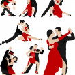 Big set of Couples dancing a tango. Vector illustration — Stock Vector