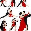Big set of Couples dancing a tango. Vector illustration — Stock Vector #6663883