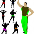 Stock Vector: Bodybuilders collection vector