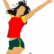Jumping girl. Colored vector illustration - Stockvektor