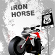 Grunge gray background with motorcycle image. Vector illustratio - Image vectorielle