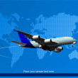 Blue abstract background with passenger plane and world map imag — Stock Vector