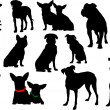 Big set of dog silhouettes. Vector illustration — Stockvektor