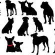Big set of dog silhouettes. Vector illustration — Stock Vector