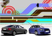 Streszczenie tło hi-tech z dwóch obrazów sedan samochodu. wektor il — Wektor stockowy