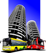 City transport on city background. Buses. Vector illustration — Stock Vector
