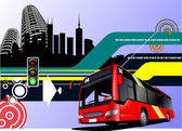 Abstract hi-tech background with city bus image. Vector illustra — Stock Vector