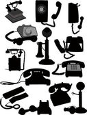 Big set of old phones silhouette. Vector illustration — Stock Vector