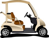 Electrical golf car on isolated white background. Vector illustr — Stock Vector