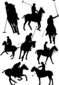 Black and white polo players vector silhouette — Stock Vector