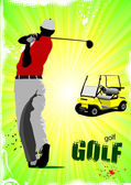Pôster colorido dos golfistas bater bola com electr e clube de ferro — Vetor de Stock