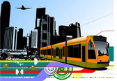 Abstract urban hi-tech background with tram on city background. — Stock Vector