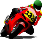 Biker on the road. Vector illustration — Stock Vector