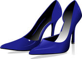 Fashion woman blue shoes. Vector illustration — Stock Vector