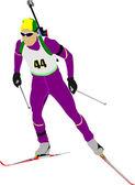 冬季两项运动员色的剪影。矢量插画 — 图库矢量图片