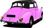 Różowy starodawny samochód cabrio na drodze. ilustracja wektorowa — Wektor stockowy