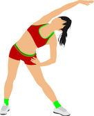 Woman gymnastic vector illustration. Free callisthenics — Stock Vector