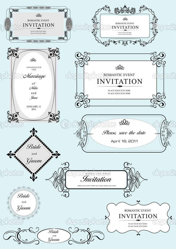 Set of ornate vector frames and ornaments with sample text. Perfect as invitation or announcement. All pieces are separate. Easy to change colors and edit. — Stock Vector #6663744
