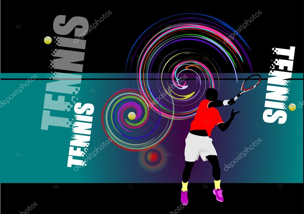 Tennis player poster. Colored Vector illustration for designers — Stock Vector #6663836
