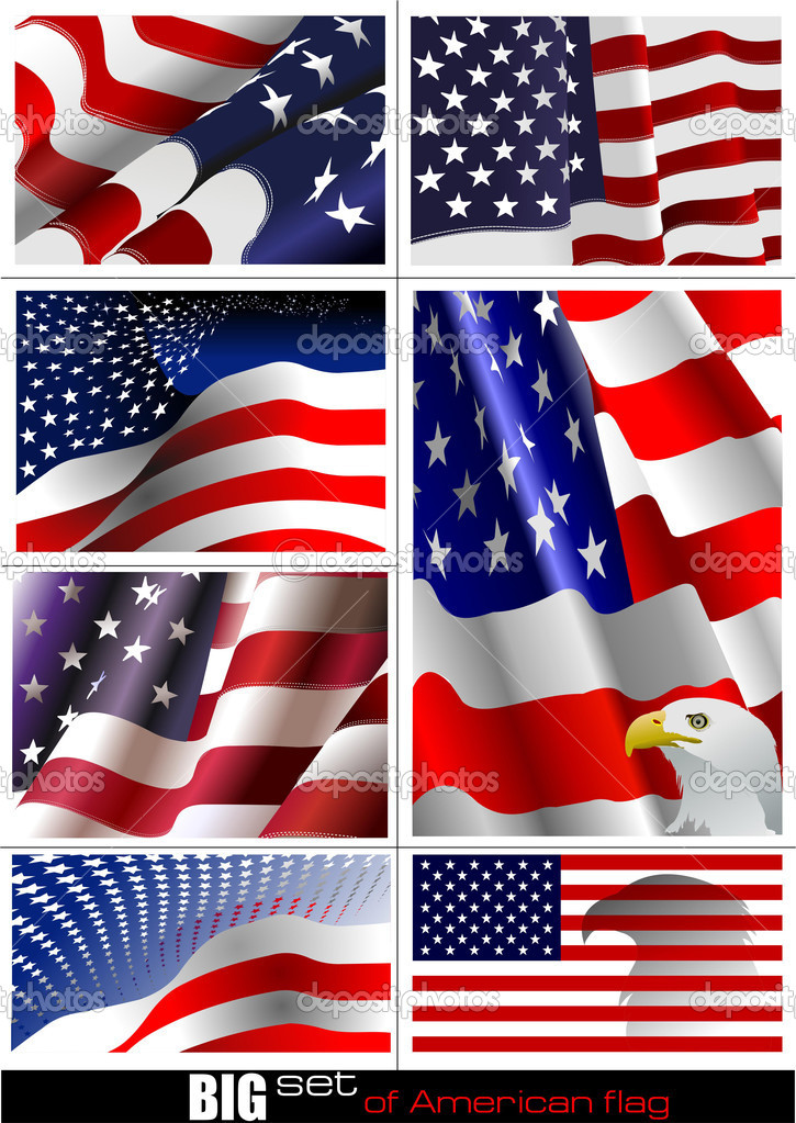4th July  Independence day of United States of America. Big set of American flag. Vector illutration  Stock Vector #6663877