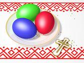 Uova di pasqua con una croce — Foto Stock